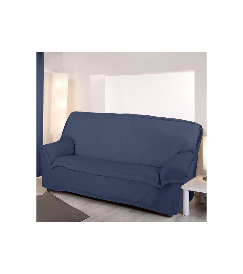Housse de clic clac unie bleue for Housse de canape 2 places
