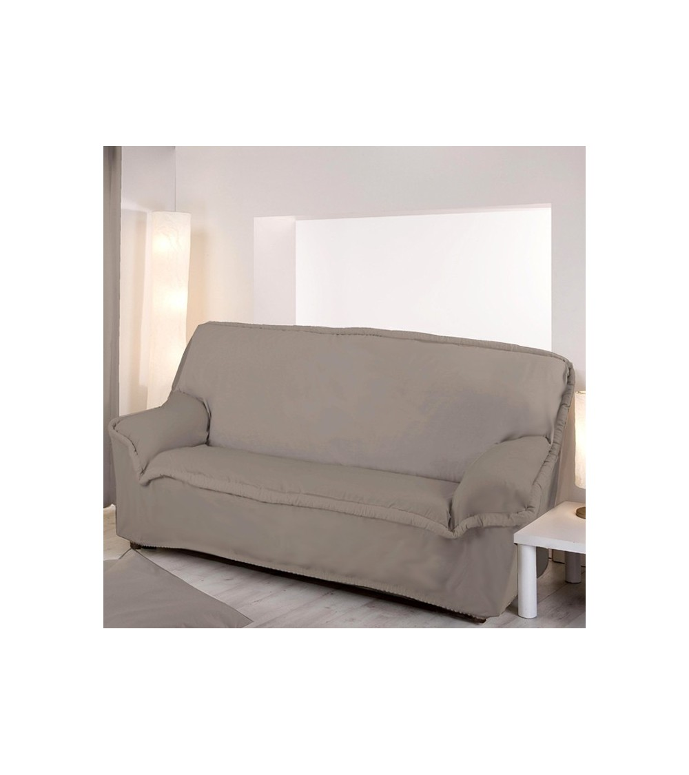 Housse de canap 3 places taupe for Housse de canape extensible