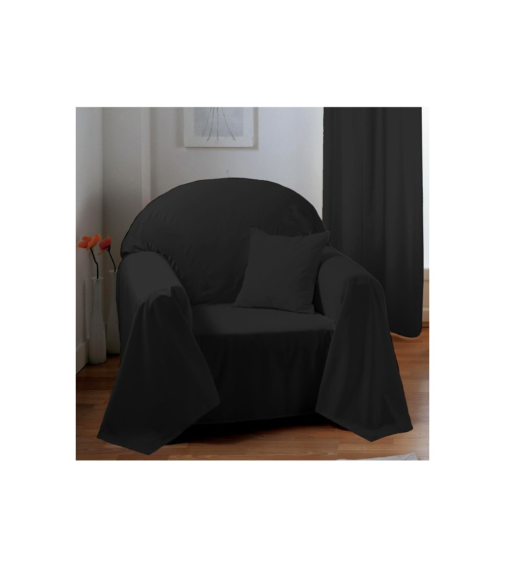 jet de fauteuil ou canap uni anthracite. Black Bedroom Furniture Sets. Home Design Ideas