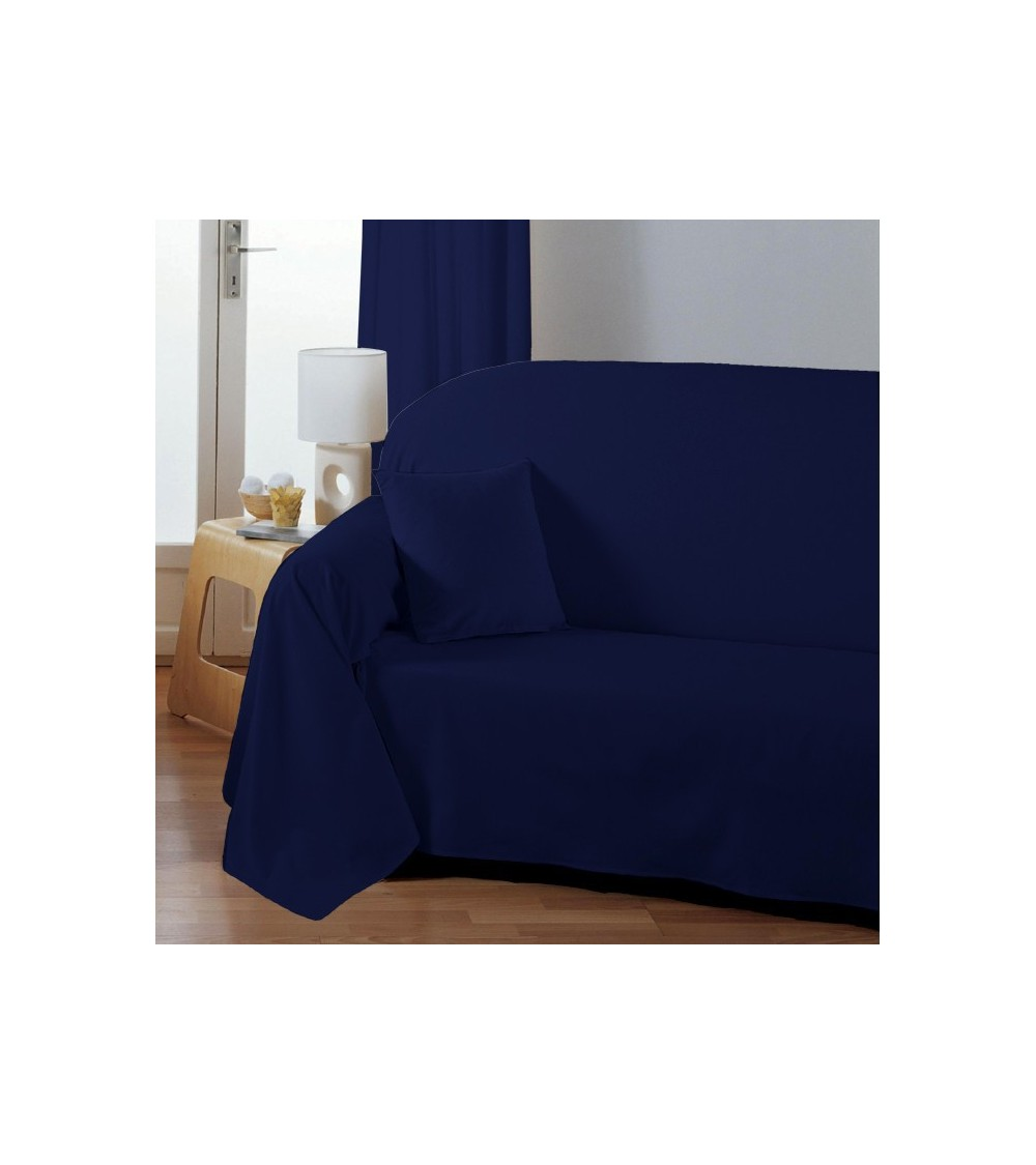 jet de fauteuil ou canap uni bleu. Black Bedroom Furniture Sets. Home Design Ideas