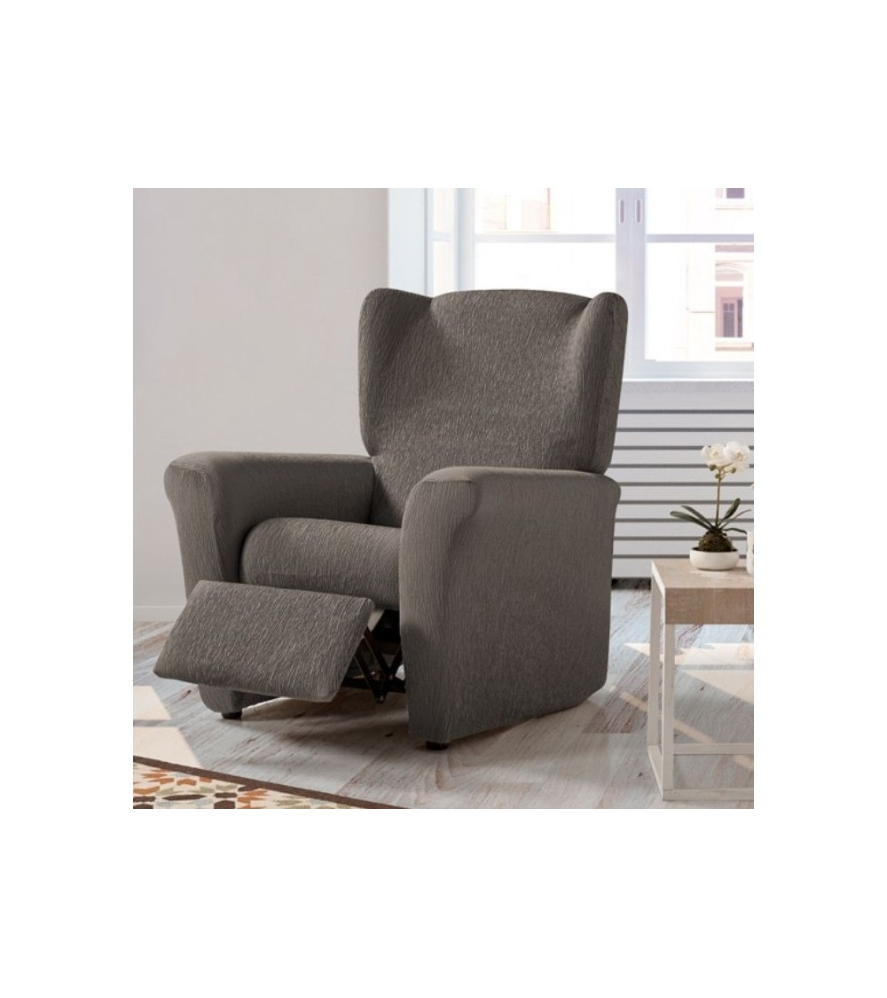 Housse fauteuil  relax extensible unie taupe